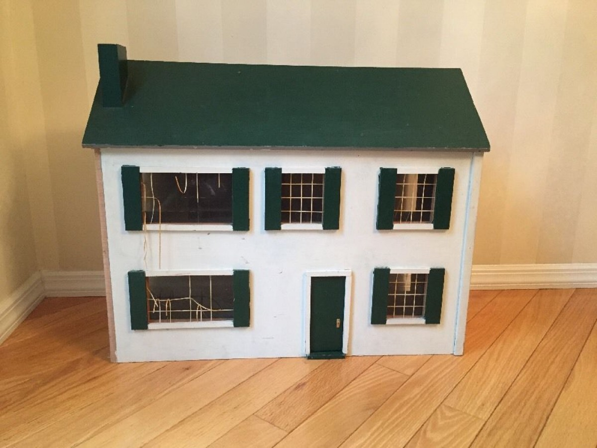 Vintage Wooden Doll House Large Hand Made Wood Folk Art Project House
