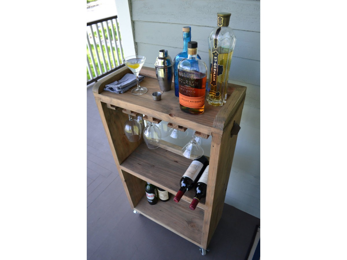 Rolling Bar Cart Wine Rack, Kitchen Bar, Reclaimed Wood Bar, Small Bar Cart  With Wine Glass Rack, Sp