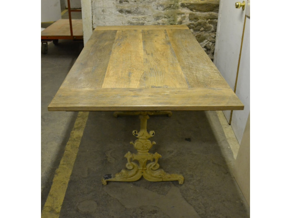 French Farmhouse Table Top with Antique Metal Base Option