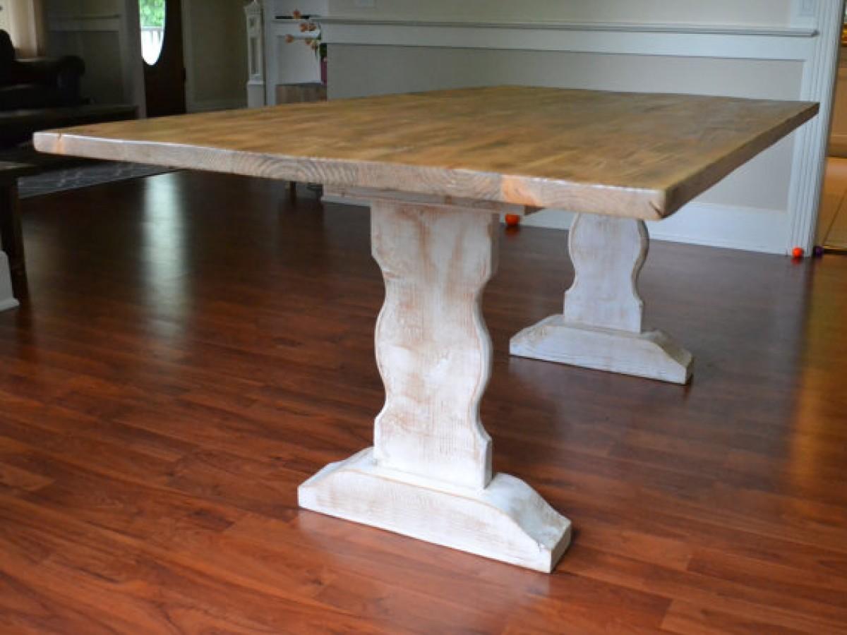 Farm Table, Reclaimed Wood Dining Table, Whitewash Dining Table, Furniture,  Kitchen Table, White Was