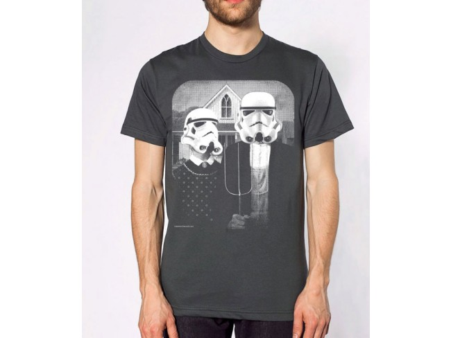 Star Wars American Gothic Parody On Mens T Shirt Apparel Asphalt Available In SM L XL