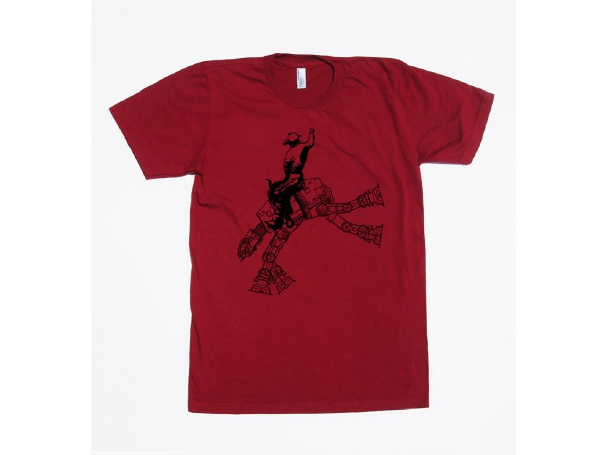 2ae8963096224 Star wars AT AT cowboy on mens t shirt- American apparel cranberry